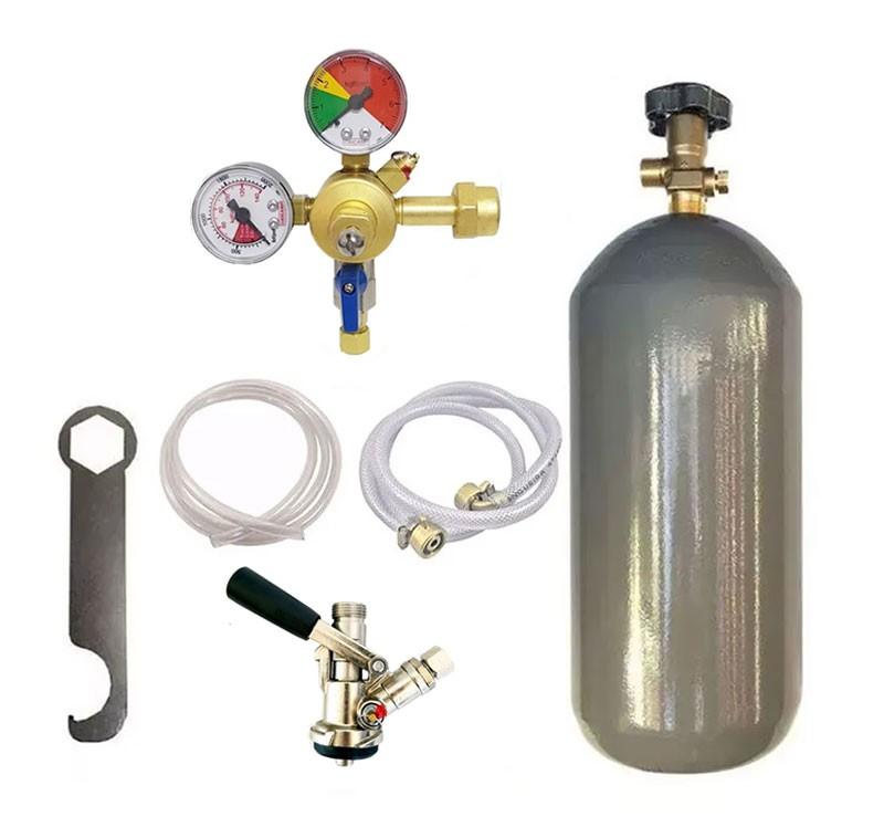 KIT DE EXTRAÇÃO CO2 6KG COM REGULADOR DE 1 VIA PARA CHOPP COMPLETO