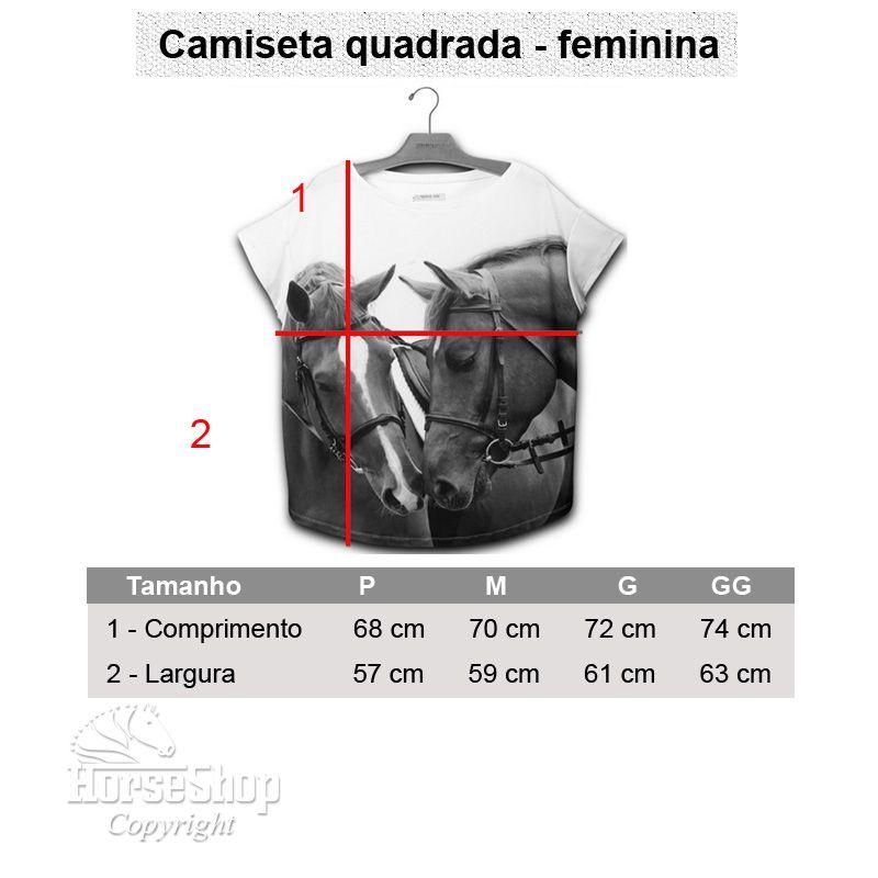 CAMISETA QUADRADA CAVALO BRANCO