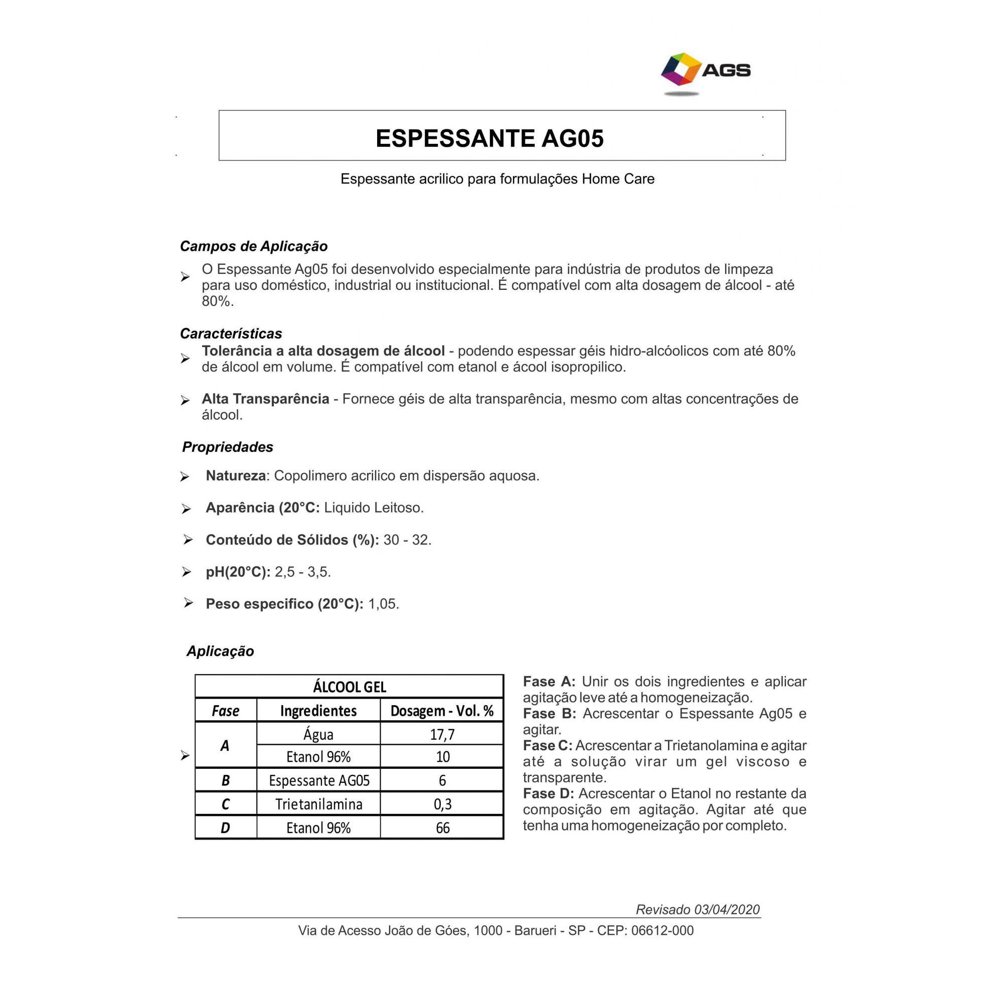 Espessante p/ Álcool - Subst. Carbopol - 1 Litro.