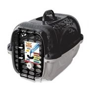 Caixa de Transporte Panther Plast Pet -  TAM 1 - Cinza e Preto