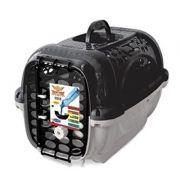 Caixa de Transporte Panther Plast Pet -  TAM 2 - Cinza e Preto