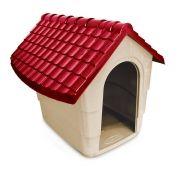 Casinha de Cachorro - Modelo House Plast Pet - Tam. 3 - Cor: Cinza e Marrom
