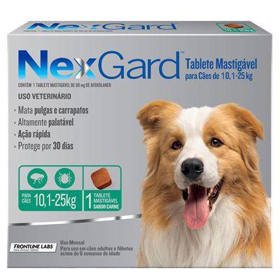 Antipulgas e Carrapatos Nexgard Cães 10,1 a 25kg - Caixa c/ 1 tablete mastigável