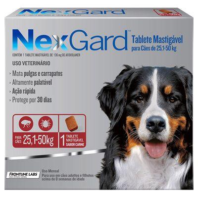 Antipulgas e Carrapatos p/ Cães Nexgard 25,1 a 50kg - Caixa com 1 tablete mastigável