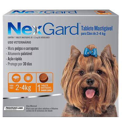 Antipulgas e Carrapatos p/ Cães Nexgard 2 a 4kg - Caixa com 1 Tablete Mastigável