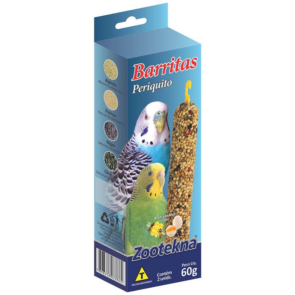 Barritas Zootekna para Periquitos 60g - Cx c/ 2 Barritas