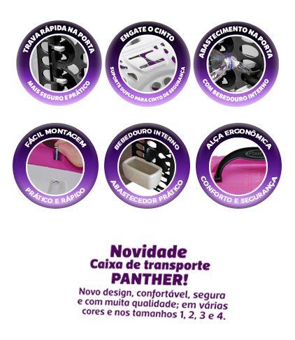 Caixa de Transporte Panther Plast Pet -  TAM 3 - Cinza e Preto