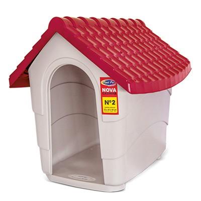 Casinha de Cachorro - Modelo House Plast Pet - Tam. 1 - Cor: Cinza e Marrom