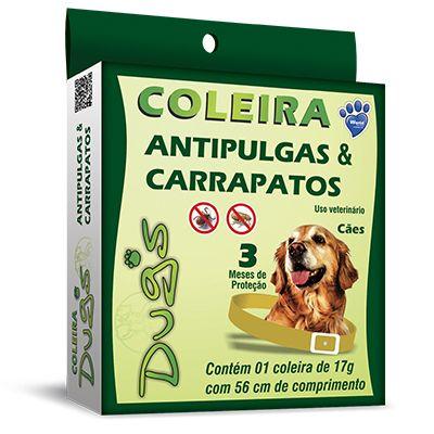 Coleira Antipulgas e Carrapaticida Dugs para Cães Adultos - 56cm