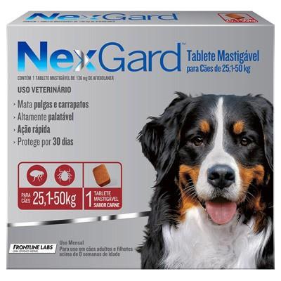 Antipulgas e Carrapatos p/ Cães Nexgard 25,1 a 50kg - Caixa com 3 tabletes mastigáveis