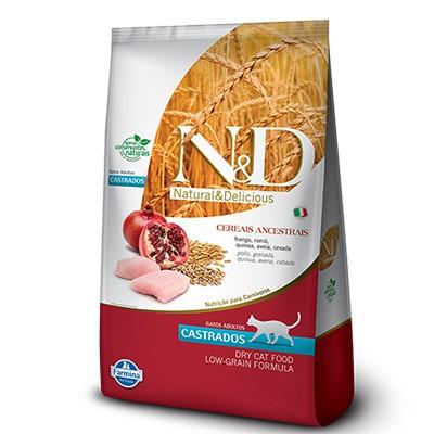 Ração N&D Ancestral Grain Frango, Romã, Aveia e Cevada - Gatos Castrados