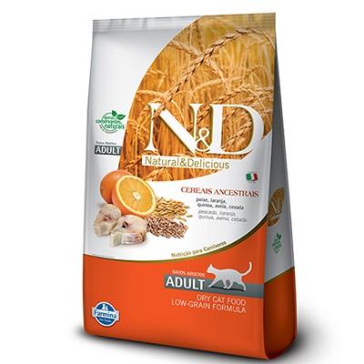 Ração N&D Ancestral Grain Peixe e Laranja - Gatos Adultos