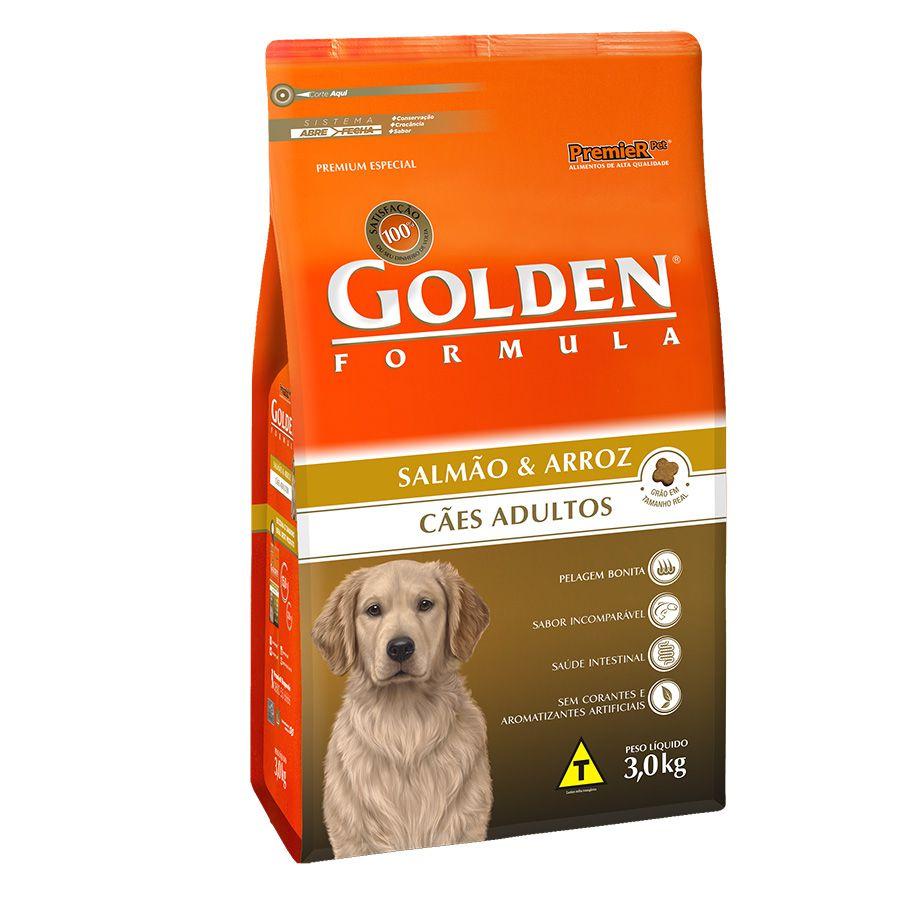 Ração Premier Golden Fórmula Salmão e Arroz - Alimento Premium Especial Cães Adultos