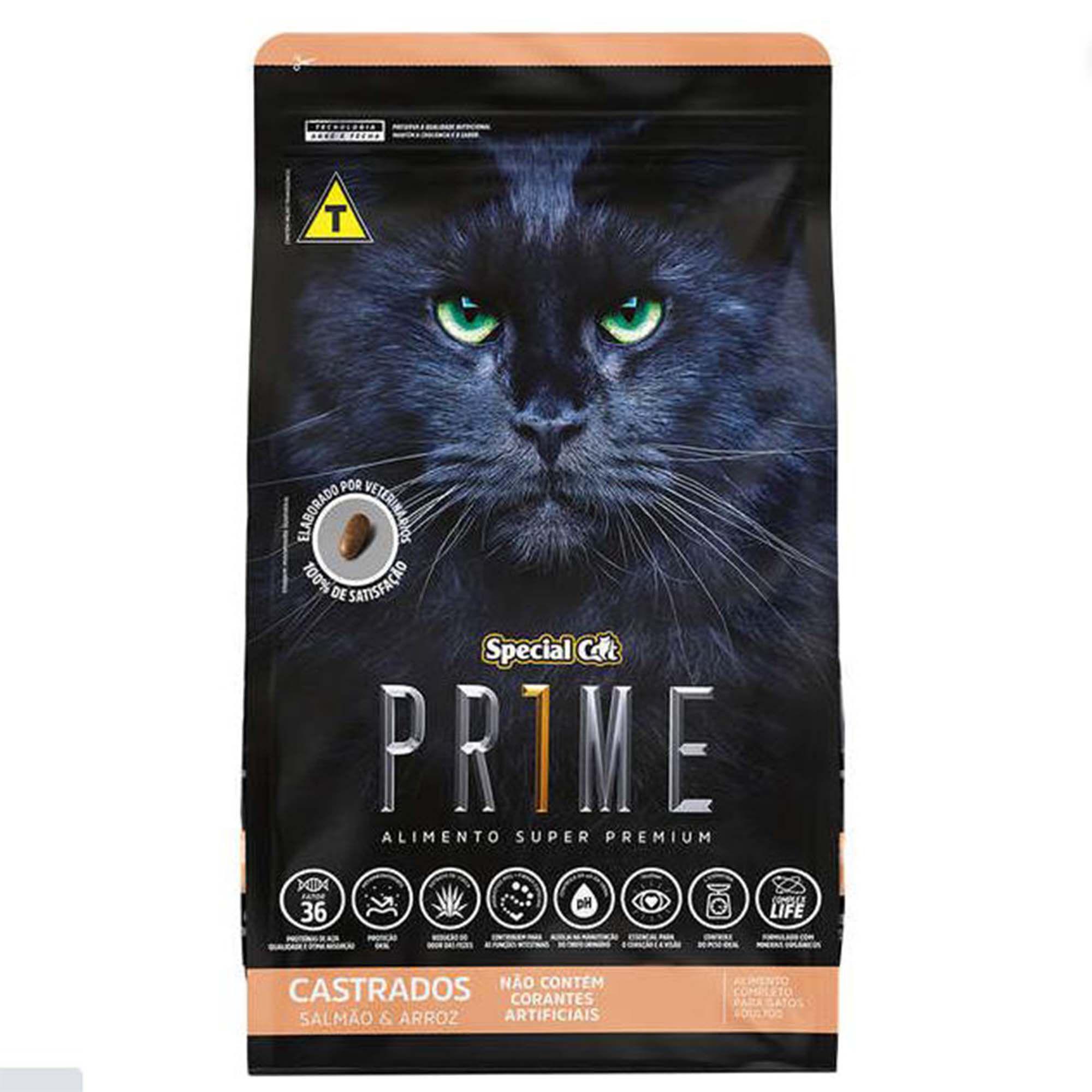 Ração Special Cat Prime Salmão e Arroz - Gatos Castrados