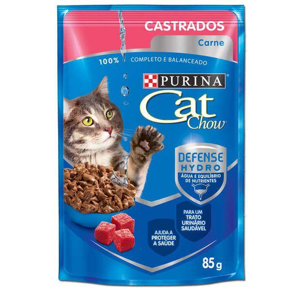 Sachê Cat Chow Carne ao Molho - Gatos Castrados - 85g