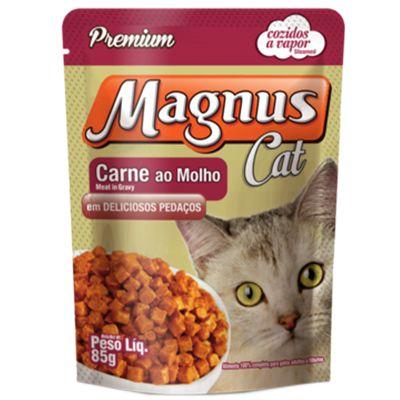 Sachê Magnus Cat Premium Gatos Adultos Sabor Carne ao Molho 85g
