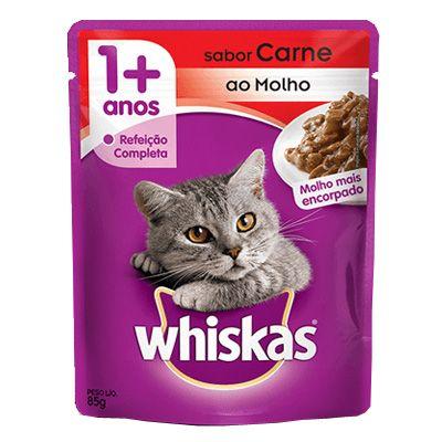 Sachê Whiskas Gato Adulto Sabor Carne ao Molho 85g