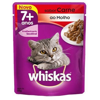 Sachê Whiskas Gatos Adultos 7+ Anos - Sabor Carne ao Molho - 85g