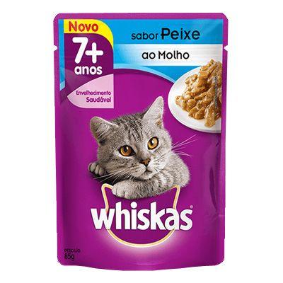 Sachê Whiskas Gatos Adultos 7+ Anos - Sabor Peixe ao Molho 85g