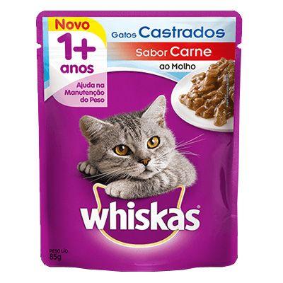 Sachê Whiskas Sabor Carne ao Molho - Gatos Castrados  85g