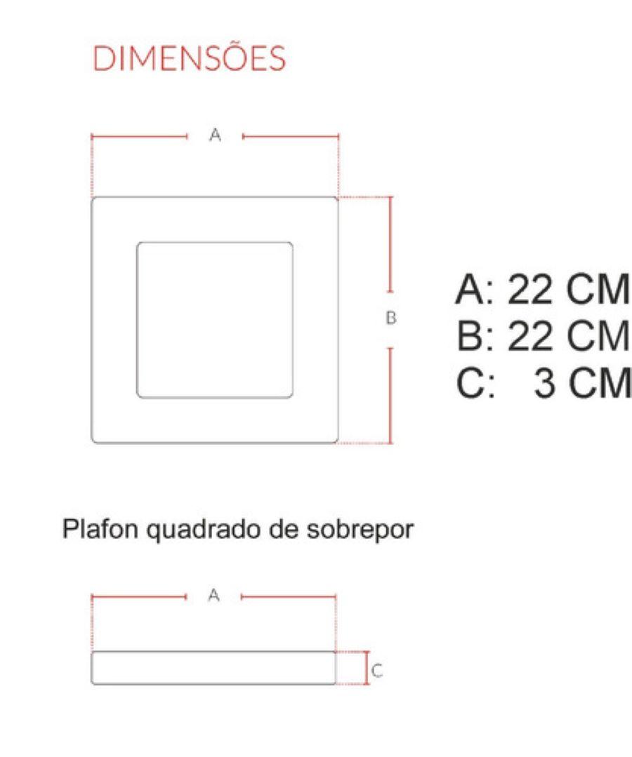 10 Painel Plafon De Led 18w Sobrepor Quadrado 22cm 4000k Morno