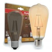Kit 6 Lâmpada LED de Filamento Pera ST64 Luz Âmbar 4W