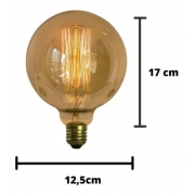 Lâmpada Vintage Retrô  Thomas Edison Filamento De Carbono G125  60W 220V