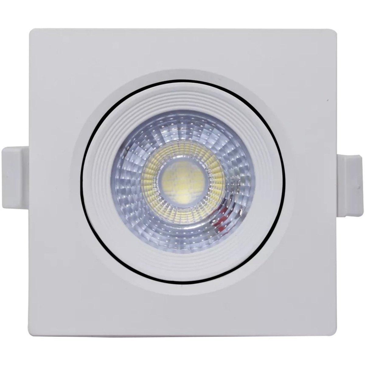 27 Spot Led 5w Direcionável Embutir Quadrado Luz Quente 3000k