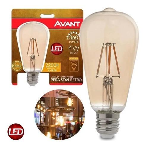 kit 10 Lâmpada LED de Filamento Pera ST64 Luz Âmbar 4W