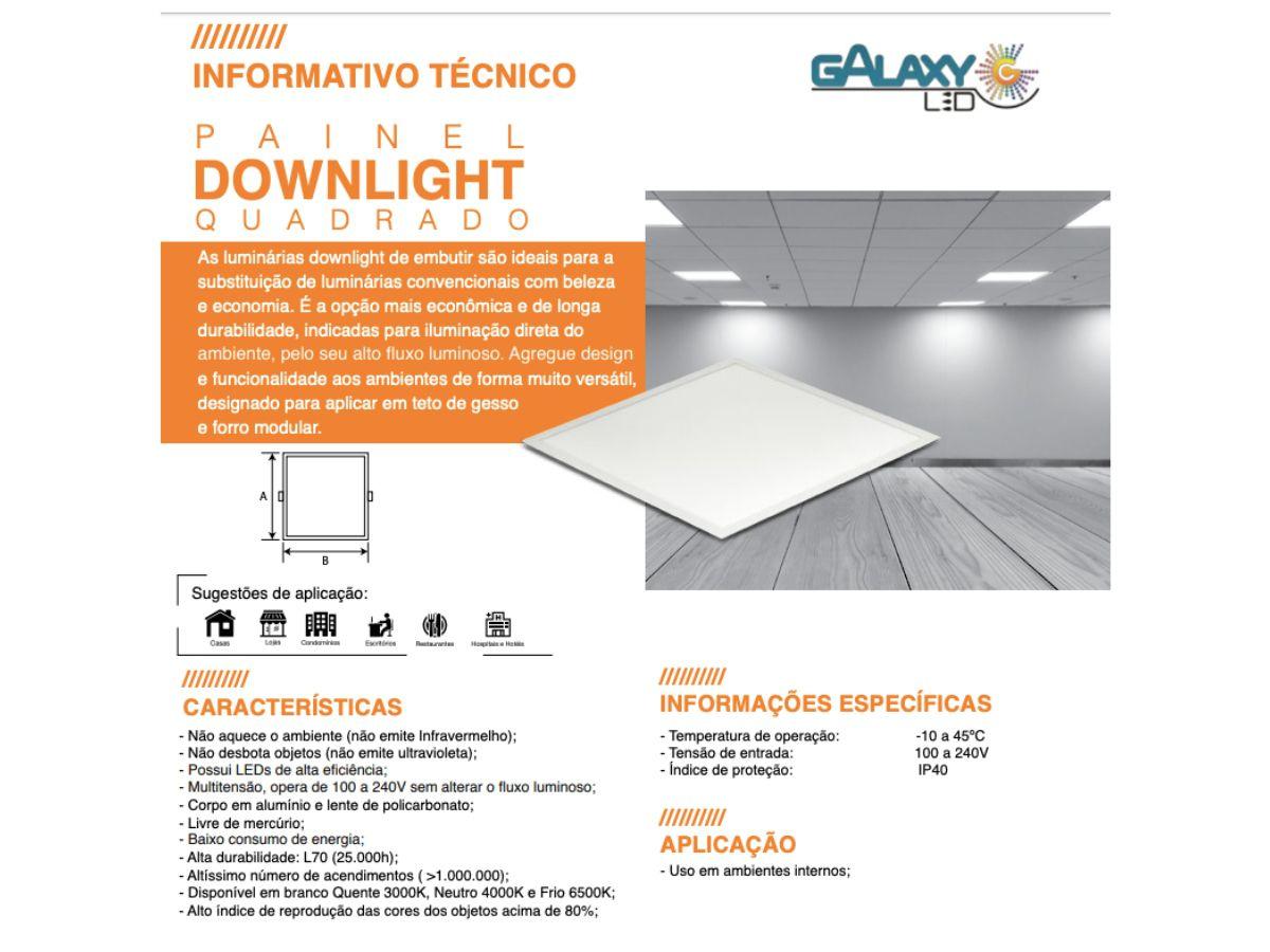 Kit 10 Plafon Led Quadrado Embutir 18w Galaxy Branco Frio