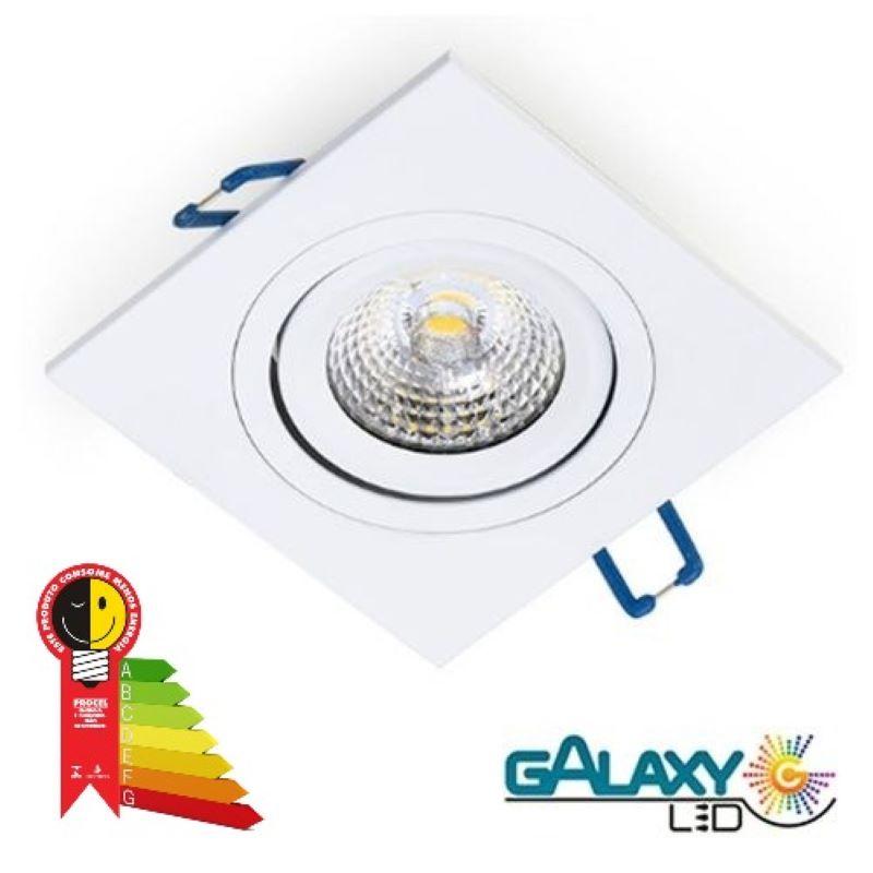 KIT 20 Spot Led 7w Direcionável Embutir Quadrado Luz Fria 6500k Casa