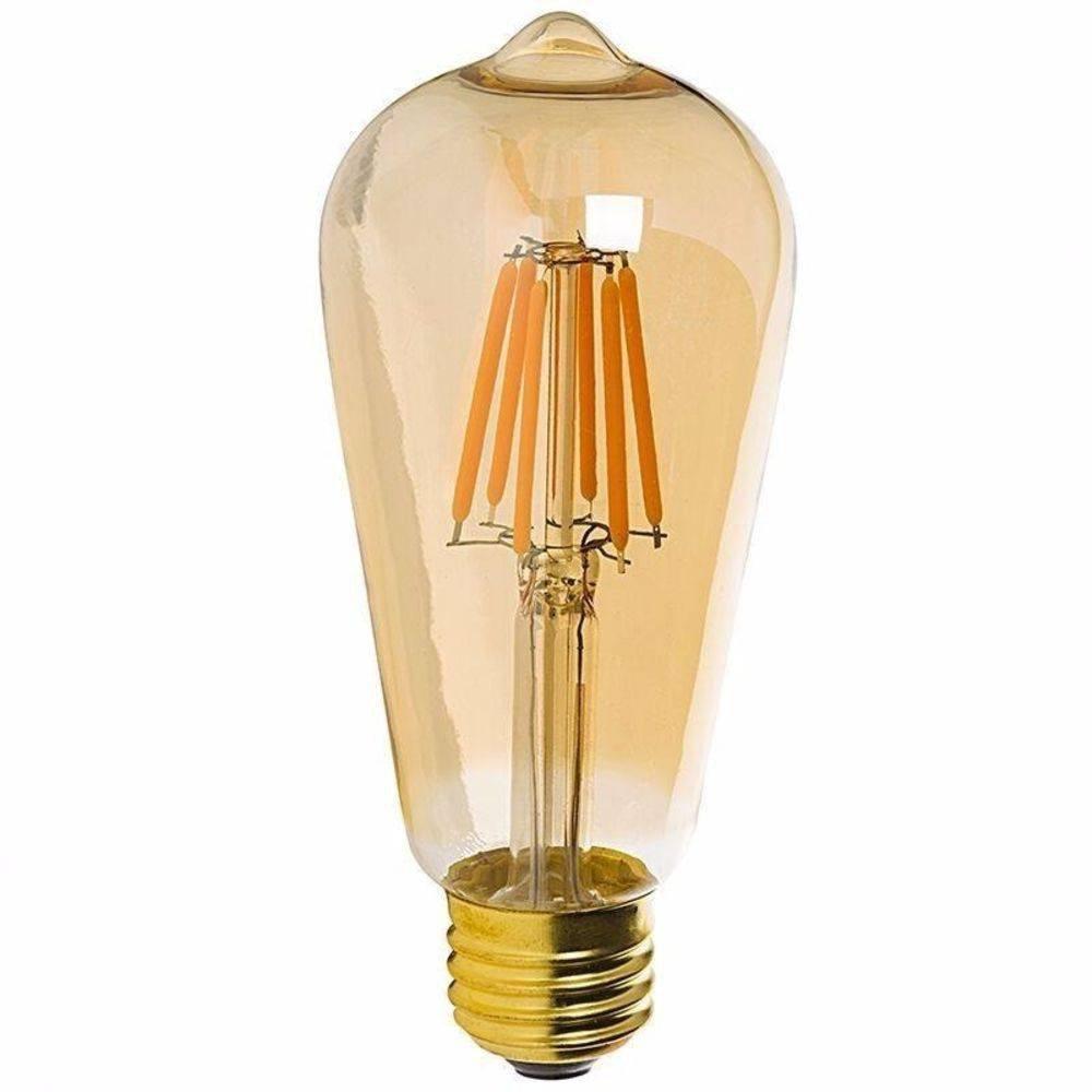 kit 5 Lâmpada LED de Filamento Pera ST64 Luz Âmbar 4W
