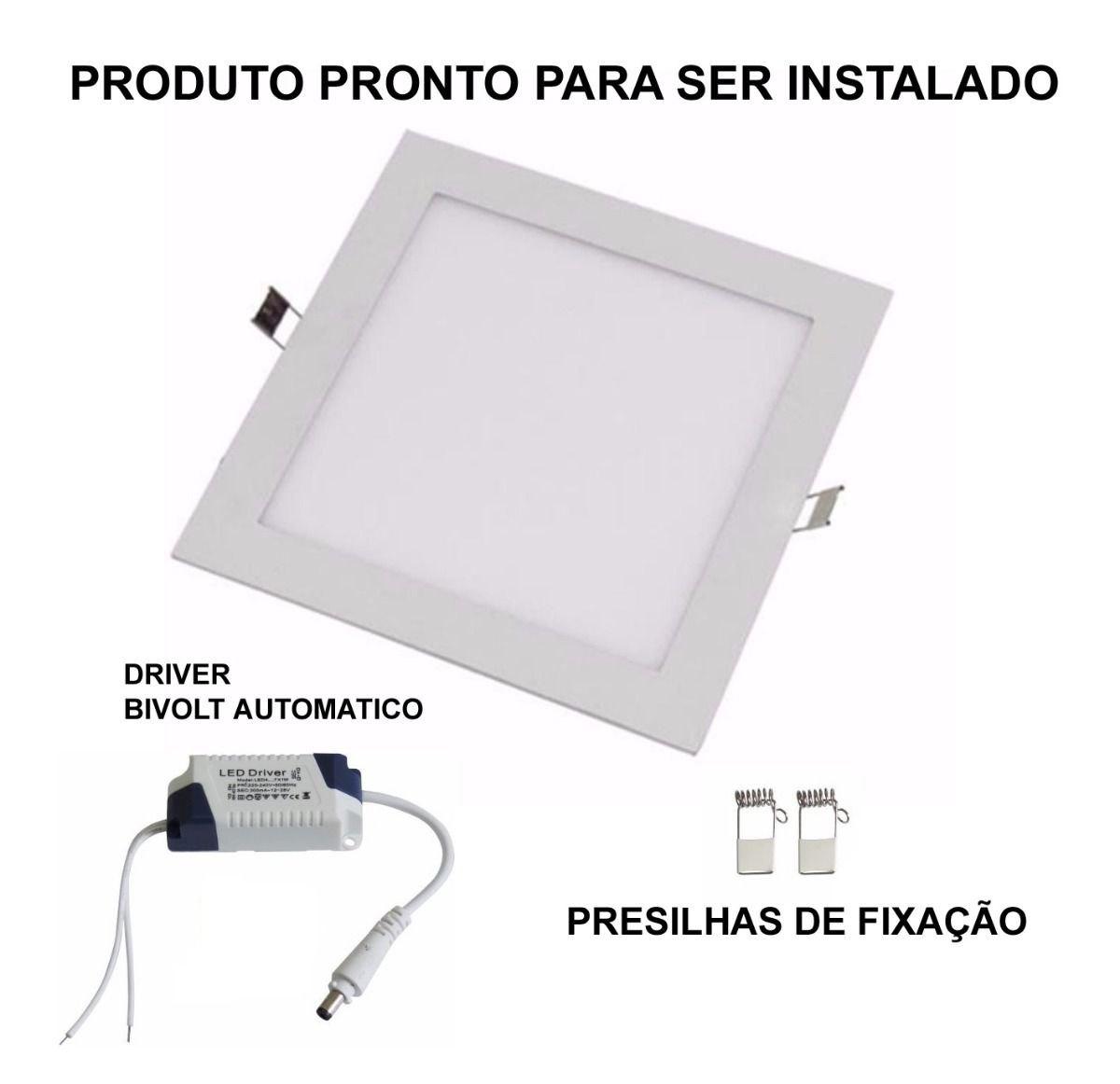Painel Plafon Led Embutir 12w Quadrado Luminaria Led Quente