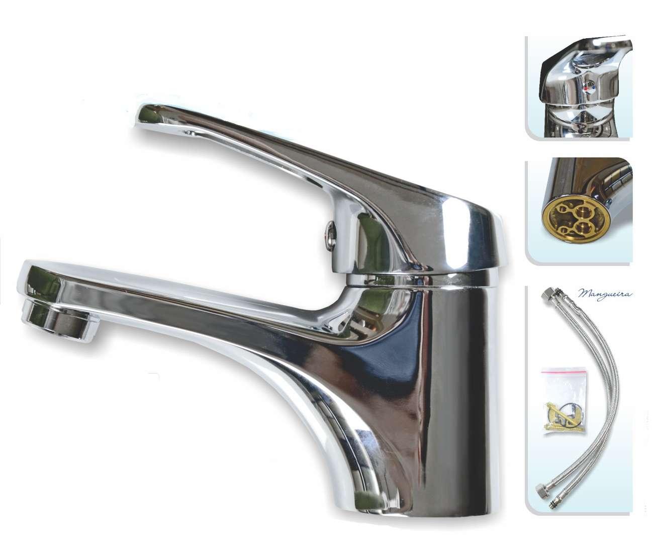 Torneira Monocomando Misturador  para Banheiro Mesa Metal Baixa