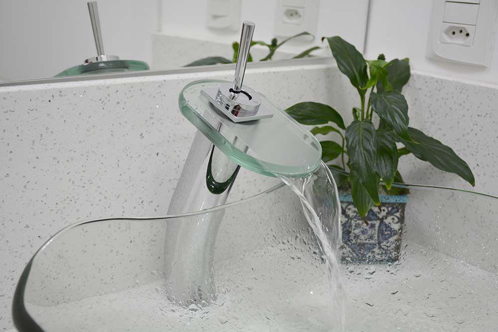 Torneira Banheiro Monocomando Misturador Lavatorio  Alta Vidro