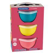 Conjunto de Potes Tramontina Mixcolor em Polipropileno com Tampa 3 Peças 25099/979   Lojas Estrela
