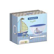 Kit Infantil Tramontina Azul com Cumbuca em Cerâmica e Colher em Aço Inox 64250/660 | Lojas Estrela