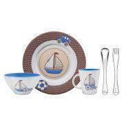 Kit Infantil Tramontina para Refeição Azul em Cerâmica e Aço Inox 5 Peças 64250/620 | Lojas Estrela
