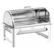 Rechaud banho-maria retangular com tampa giratória aço inox 61043/013 | Lojas Estrela