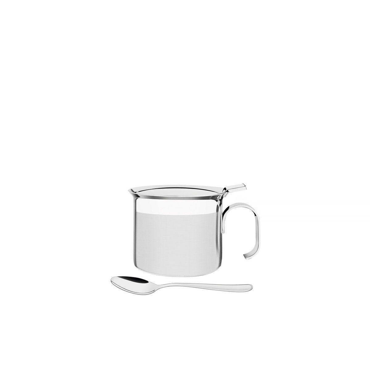Açucareiro Tramontina com Alça em Aço Inox com Colher Detalhe Brilho 8 cm 350 ml 64570/500 | Lojas Estrela