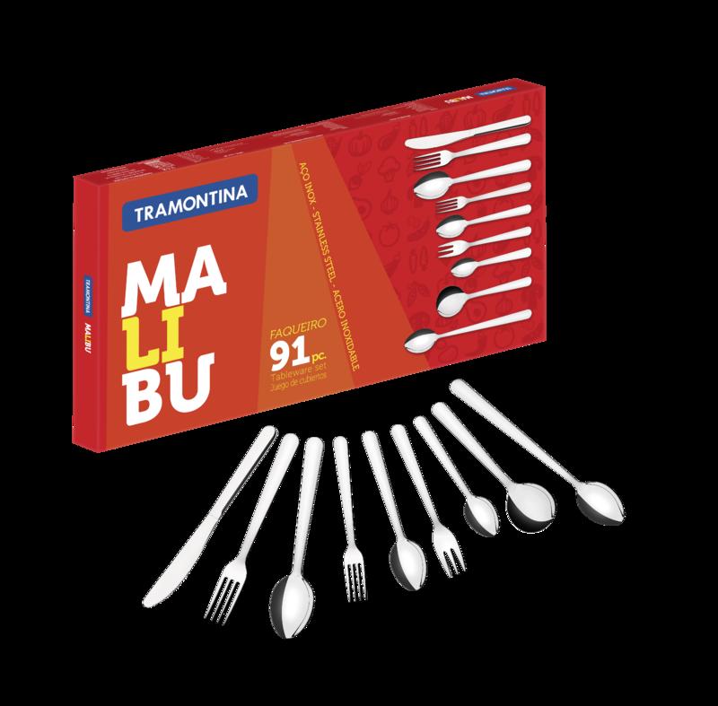 Conjunto Talheres inox 91 peças Malibu 23799/037