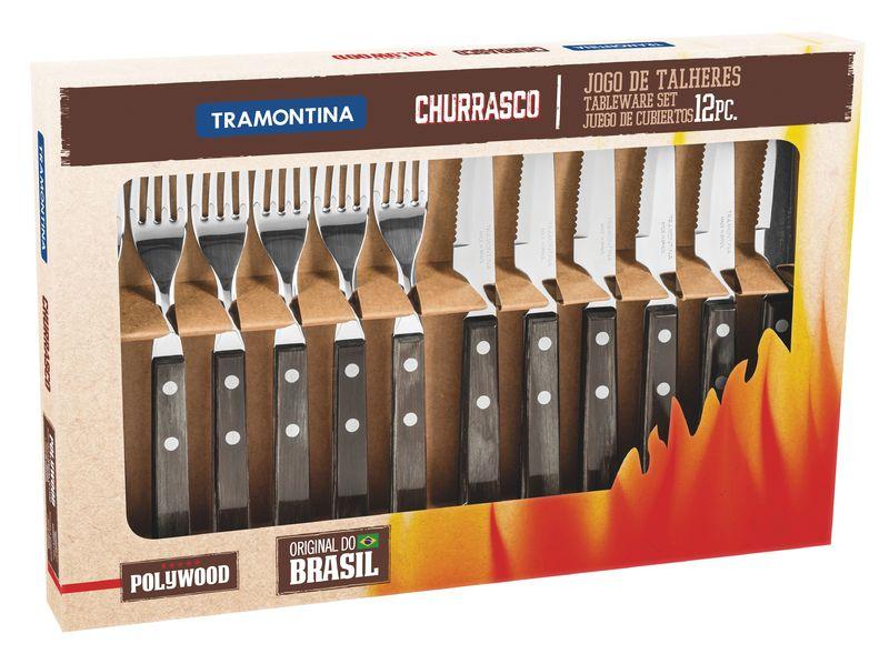 Conjunto Tramontina Churrasco Inox 12 pçs Polywood 21199/909 Castanho