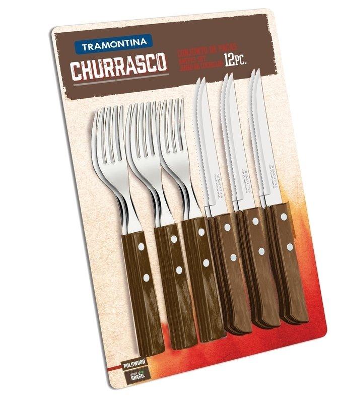 Conjunto Tramontina para Churrasco inox 12 peças Polywood 21199/911