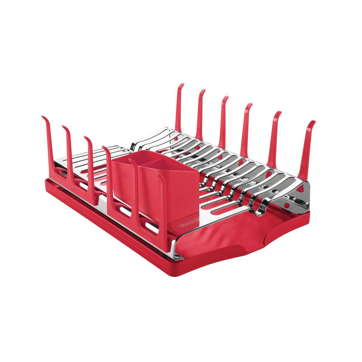 Escorredor de Louça Tramontina em Aço Inox com Bandeja Coletora Vermelha 61535/060 | Lojas Estrela