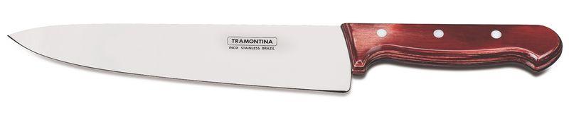 "Faca Tramontina para Carne 10"" Aço Inox Polywood Vermelho 21199/722"