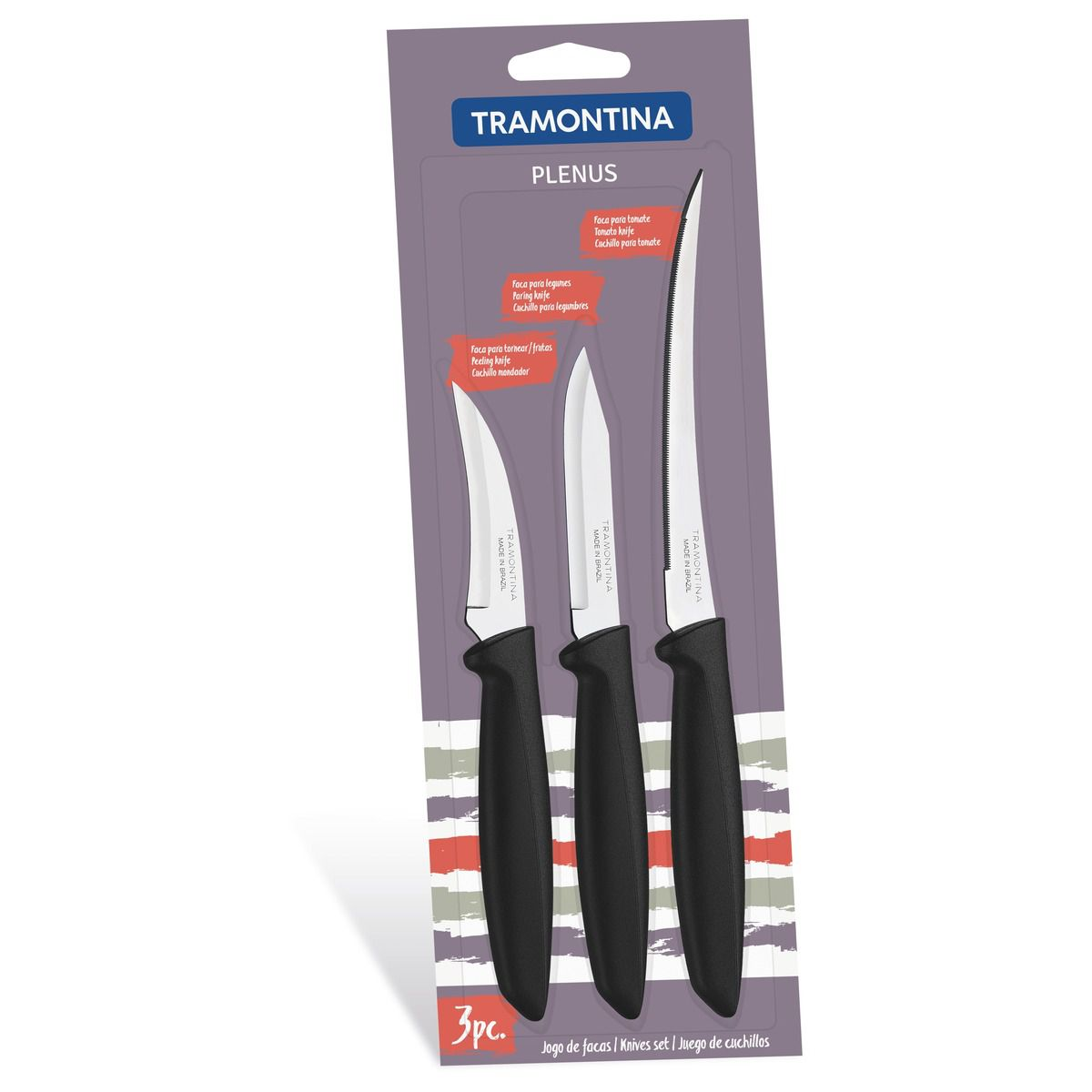 Jogo de facas 3 peças 23498/012   Lojas Estrela