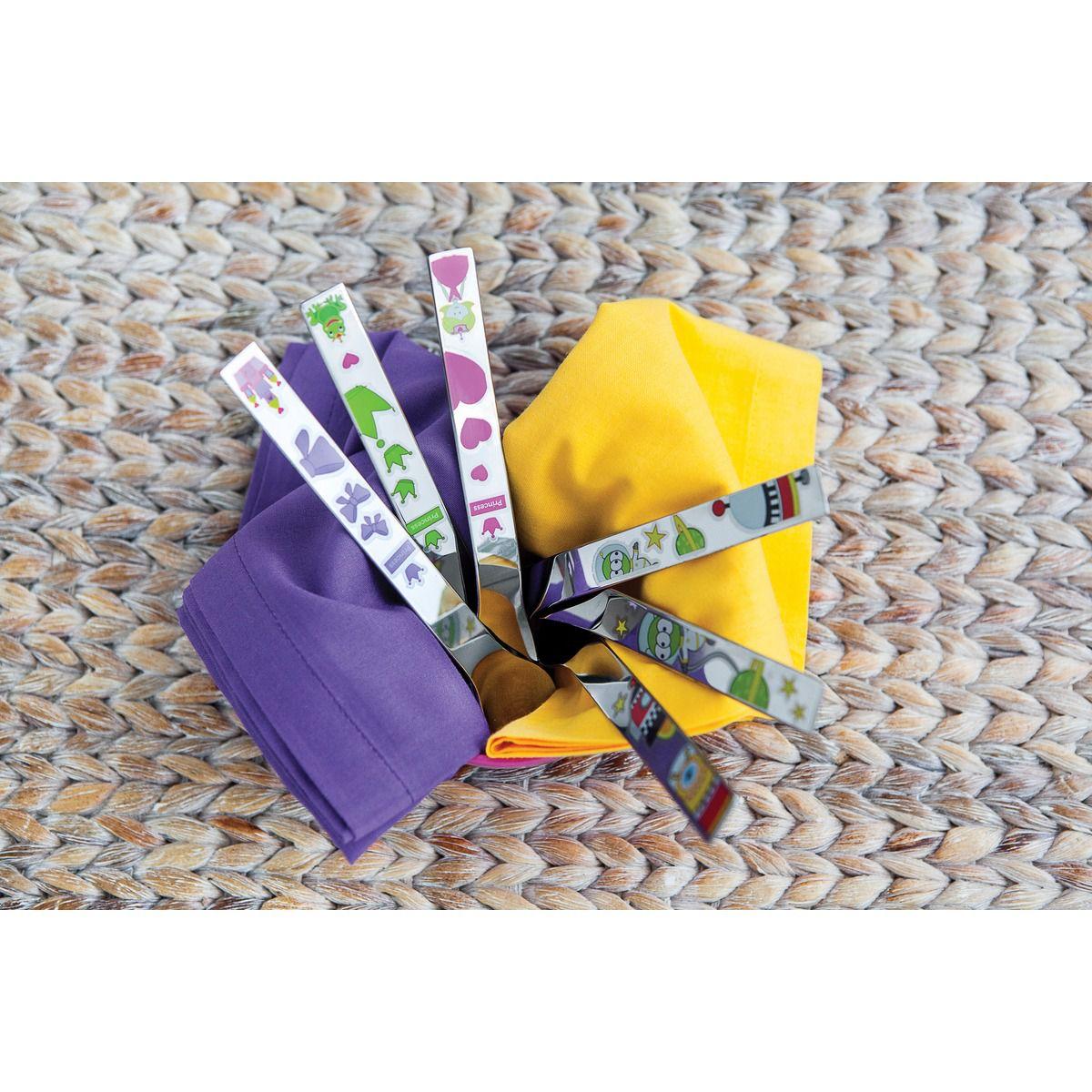 Jogo de Talheres Infantil Tramontina em Aço Inox Princesa Acabamento Brilho com Desenhos Coloridos 3 Peças 66974/005 | Lojas Estrela