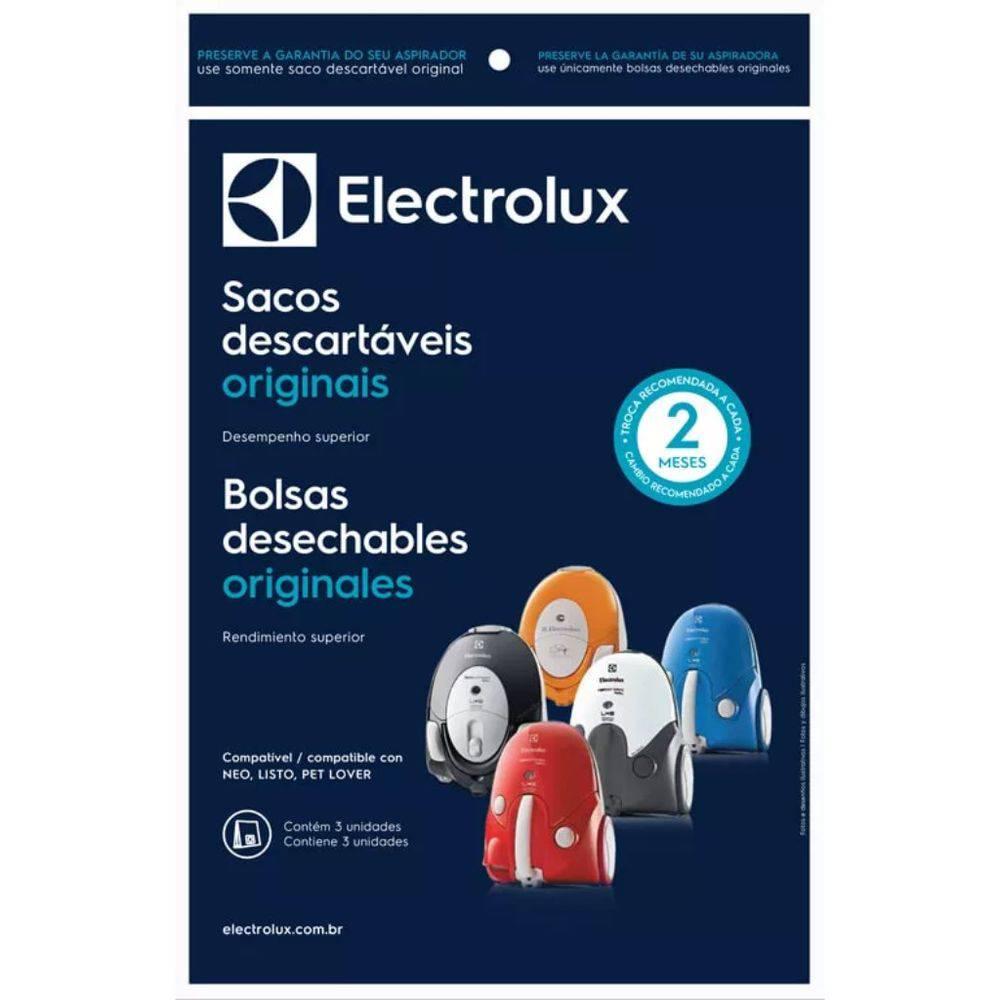 Kit 3 Sacos Descartáveis Aspiradores De Pó Electrolux