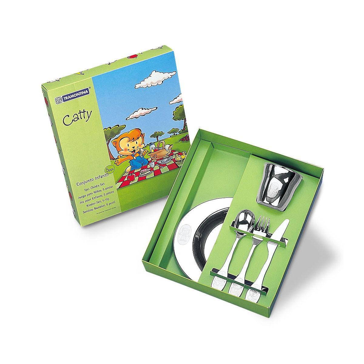 Kit Infantil Tramontina para Refeição em Aço Inox  5 Peças 64250/940   Lojas Estrela