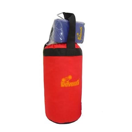 Kit saco de pancada infantil com luva vermelho Deveras